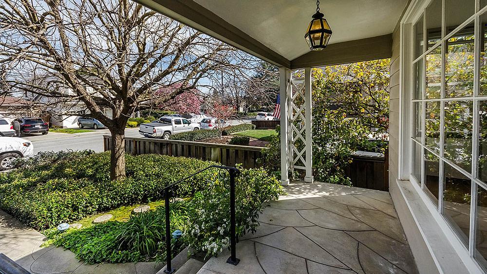 Entry porch for 1354 Cordilleras Ave, San Carlos, CA. 94070.